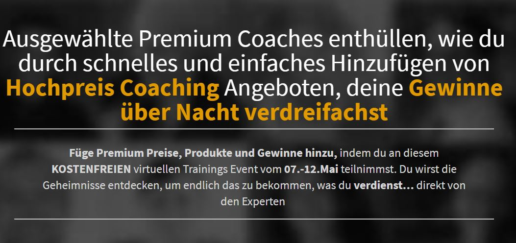 Hochpreiscoaching Online-Kongress